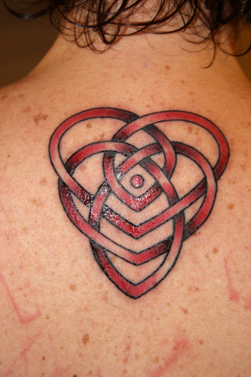 Red Ink Celtic Heart Knot Tattoo Design3