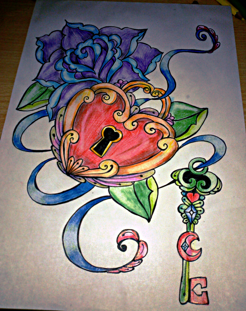 rose-heart-lock-n-key-tattoo-design