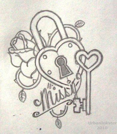Rose Heart Lock n Key Tattoo Design