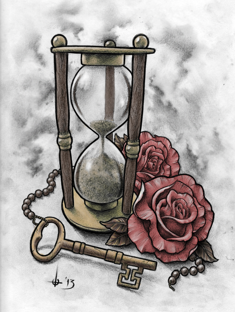 sand-clock-roses-n-key-tattoo-design