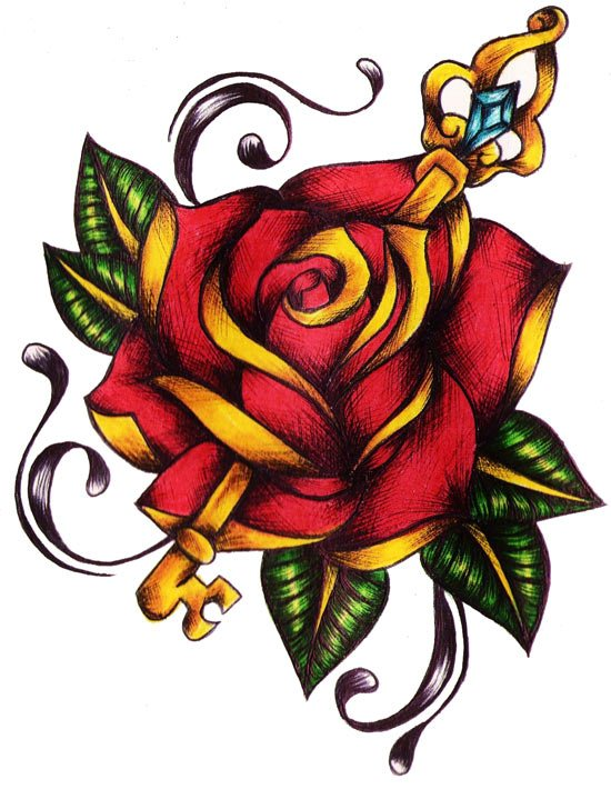 stunning-rose-key-tattoo-design