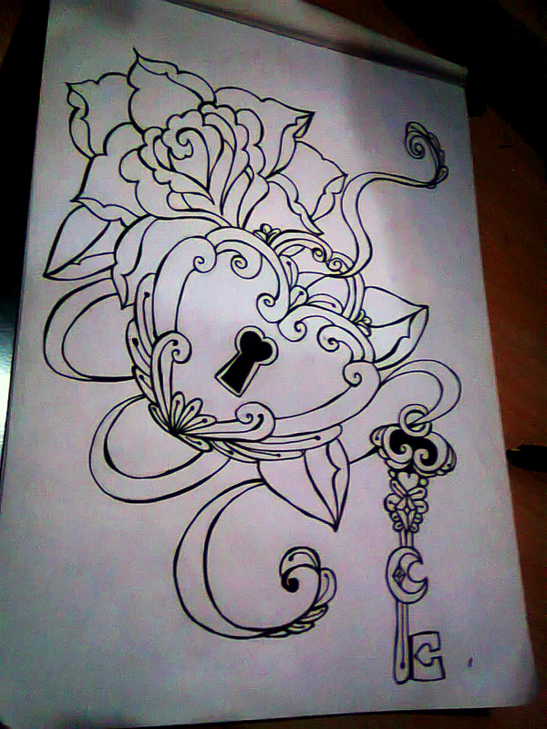 without-color-rose-lock-n-key-tattoo-design