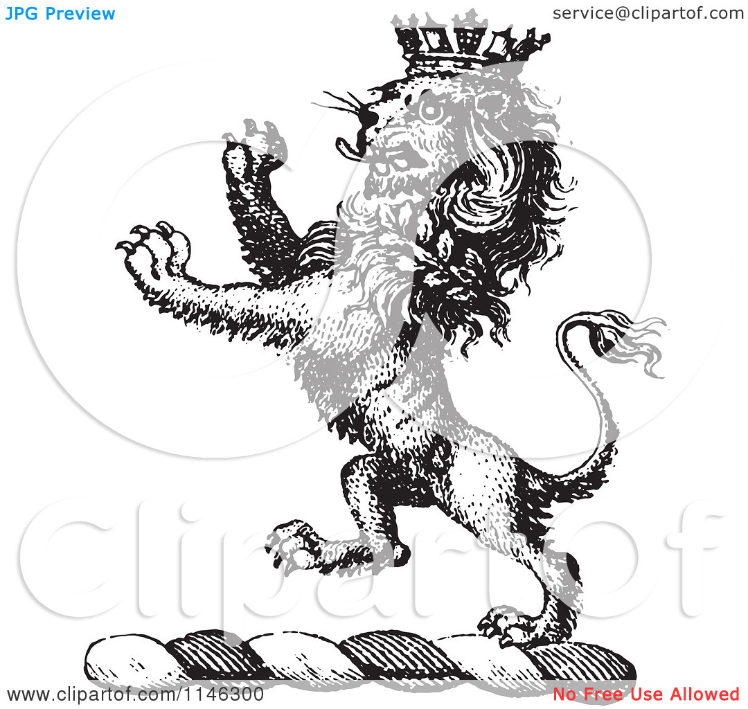 A Black And White Vintage Lion Crest With A  Crown Tattoo Design