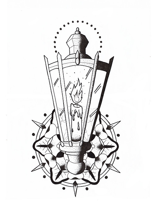 A Candle Lamp Tattoo Design