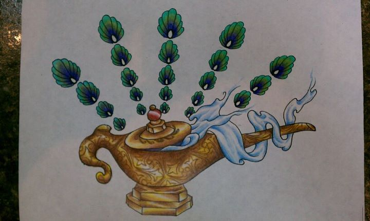 A Genie Lamp Tattoo Design