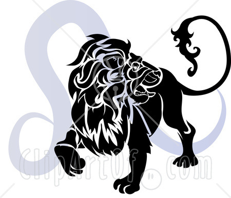 A Silhouetted Lion Over A Blue Leo Astrological Sign Of The Zodiac Tattoo Design