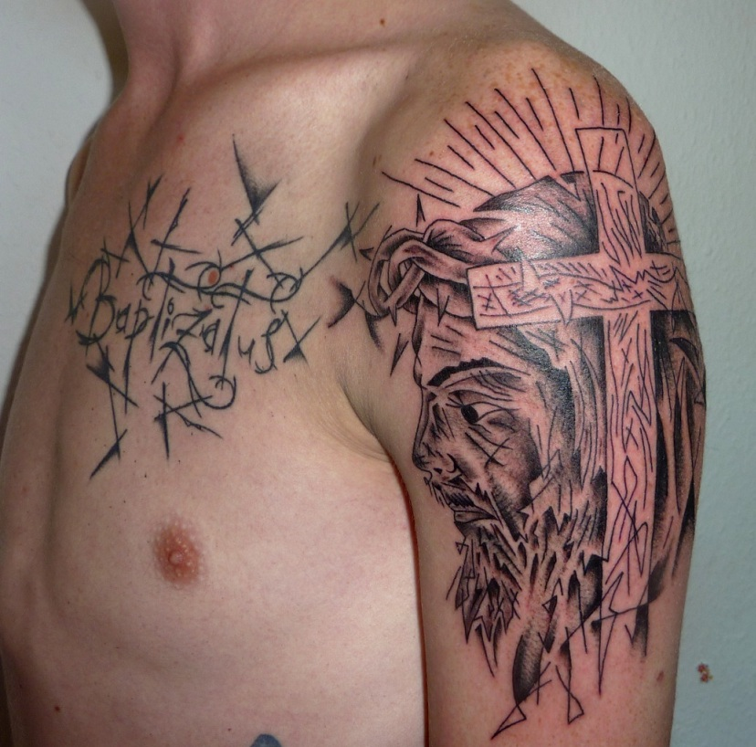 Abstract Jesus Tattoo On Biceps