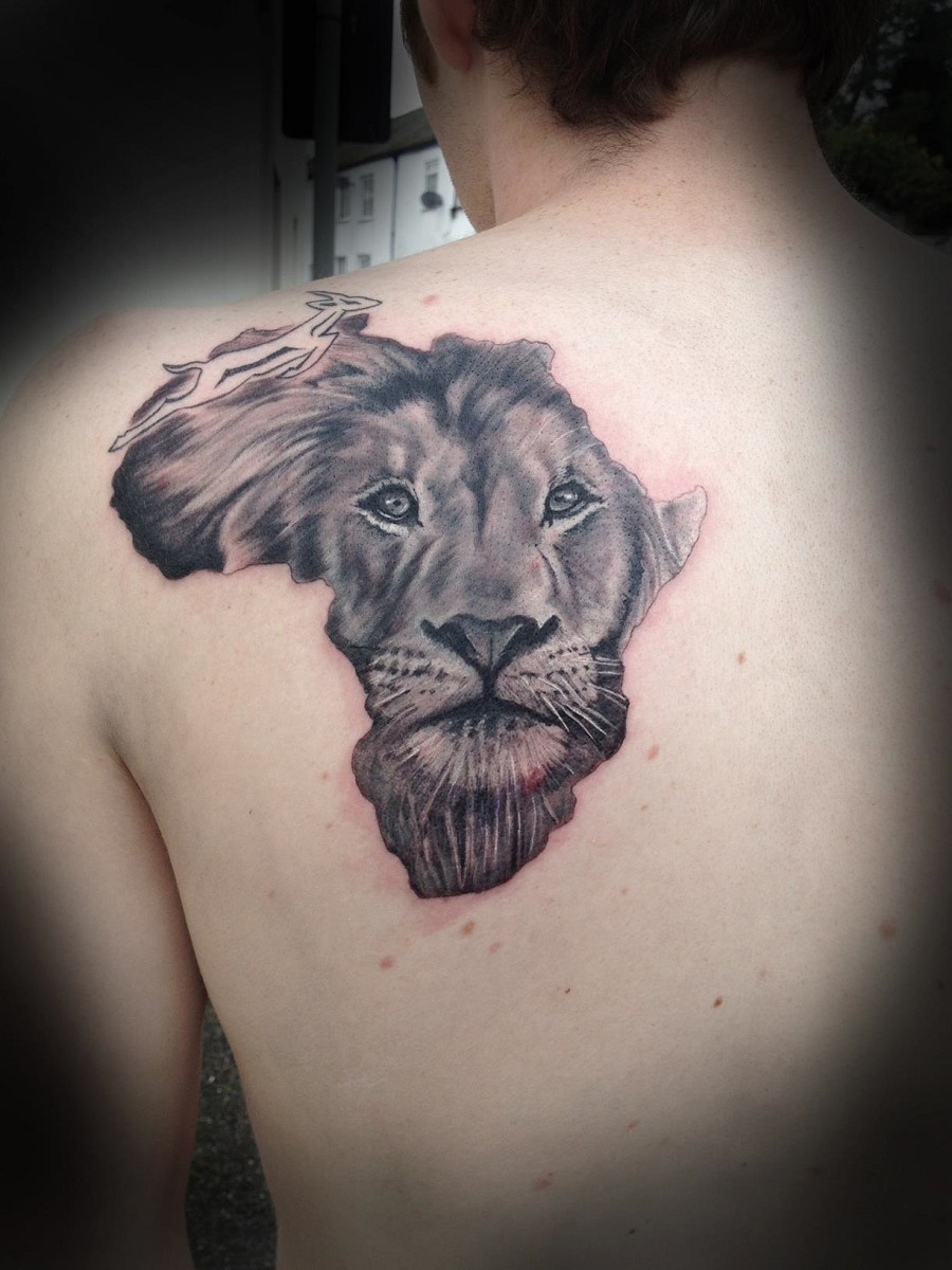 African Lion Face Tattoo On Back