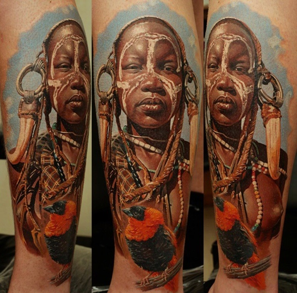 African Village Woman Leg Tattoo Design