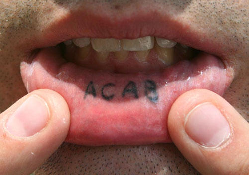 Alphabets Lip Tattoo Design