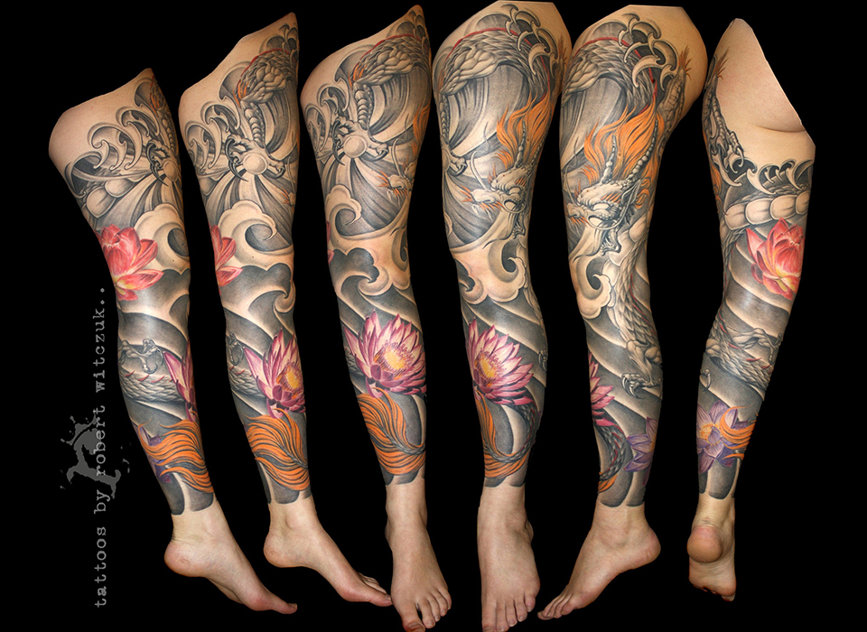 Amazing Dragon Leg Sleeve Tattoo Designs