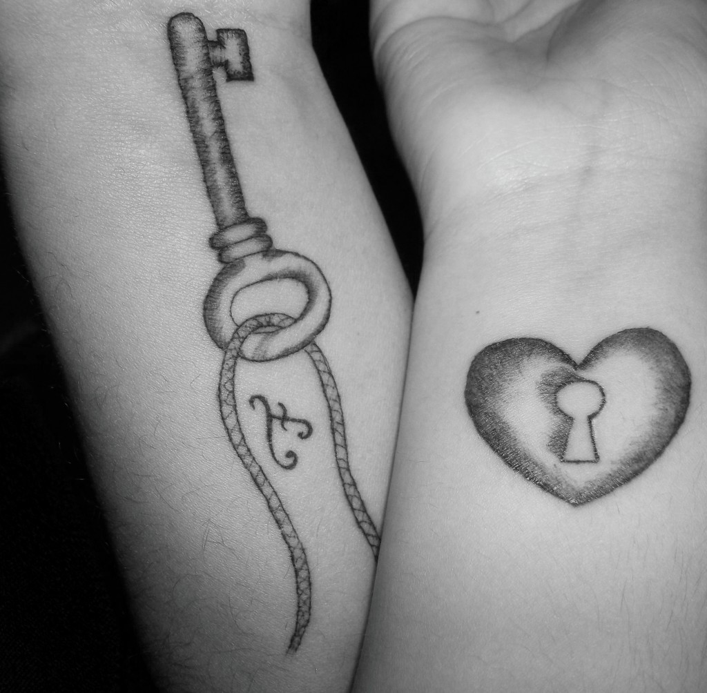 Amazing Key n Heart Lock Tattoo Design