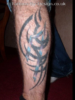 Amazing Tribal Leg Tattoo Design For Men