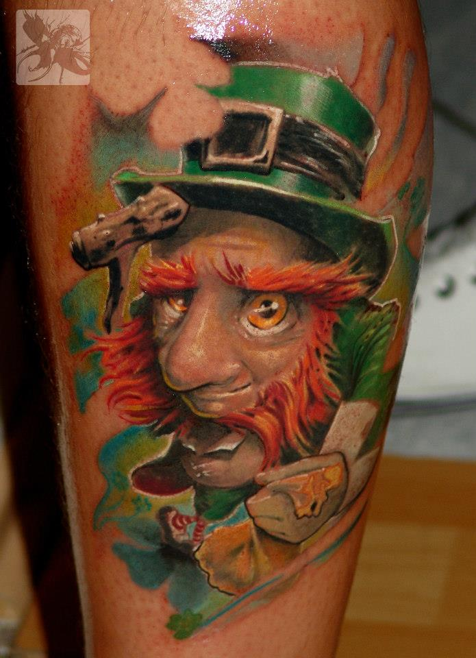 An Irish Leprechaun In Bright Colors In This Pop Surrealist Tattoo Design
