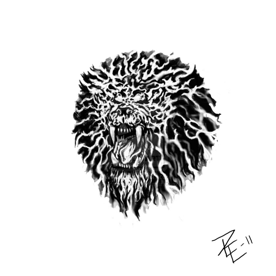 Angry Lion Face Tattoo Stencil