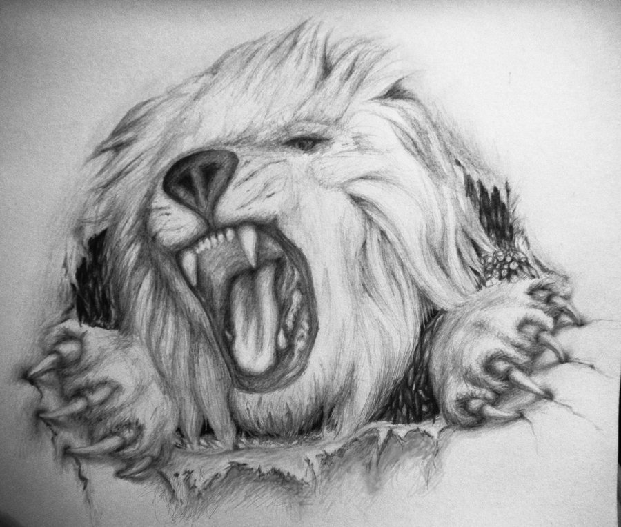 Angry Lion Tattoo Design