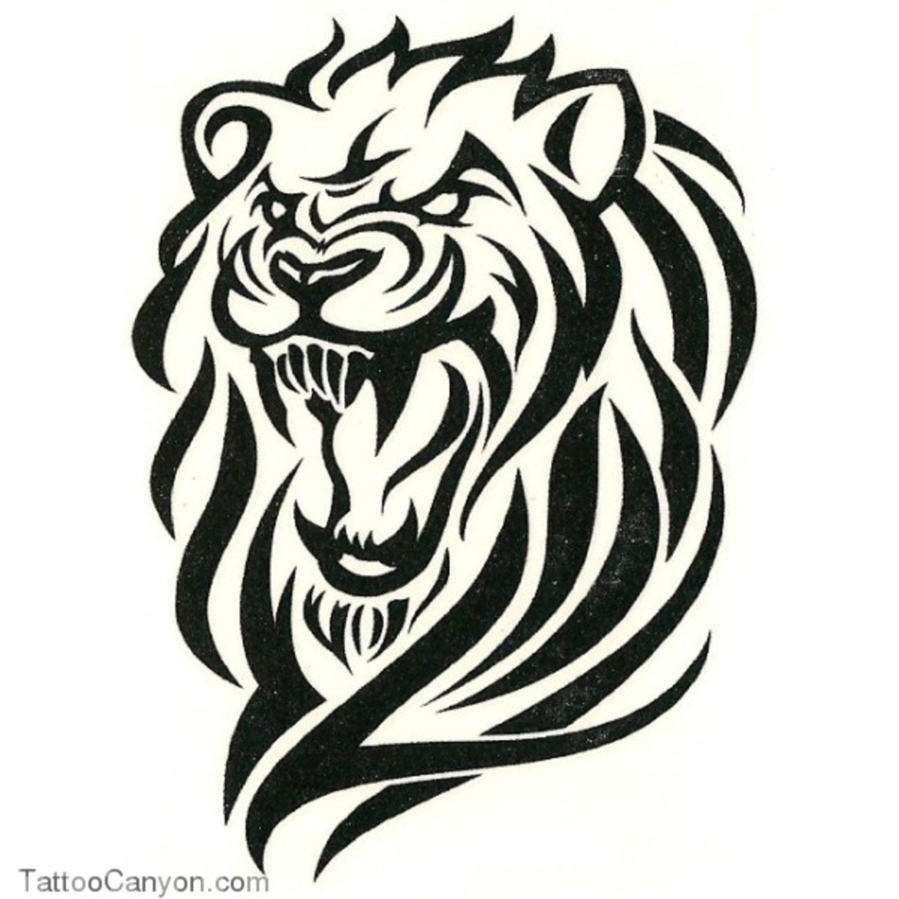 Angry Lion Tribal Tattoo Design