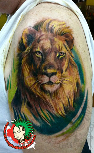 Animal Lion Head Tattoo On Biceps