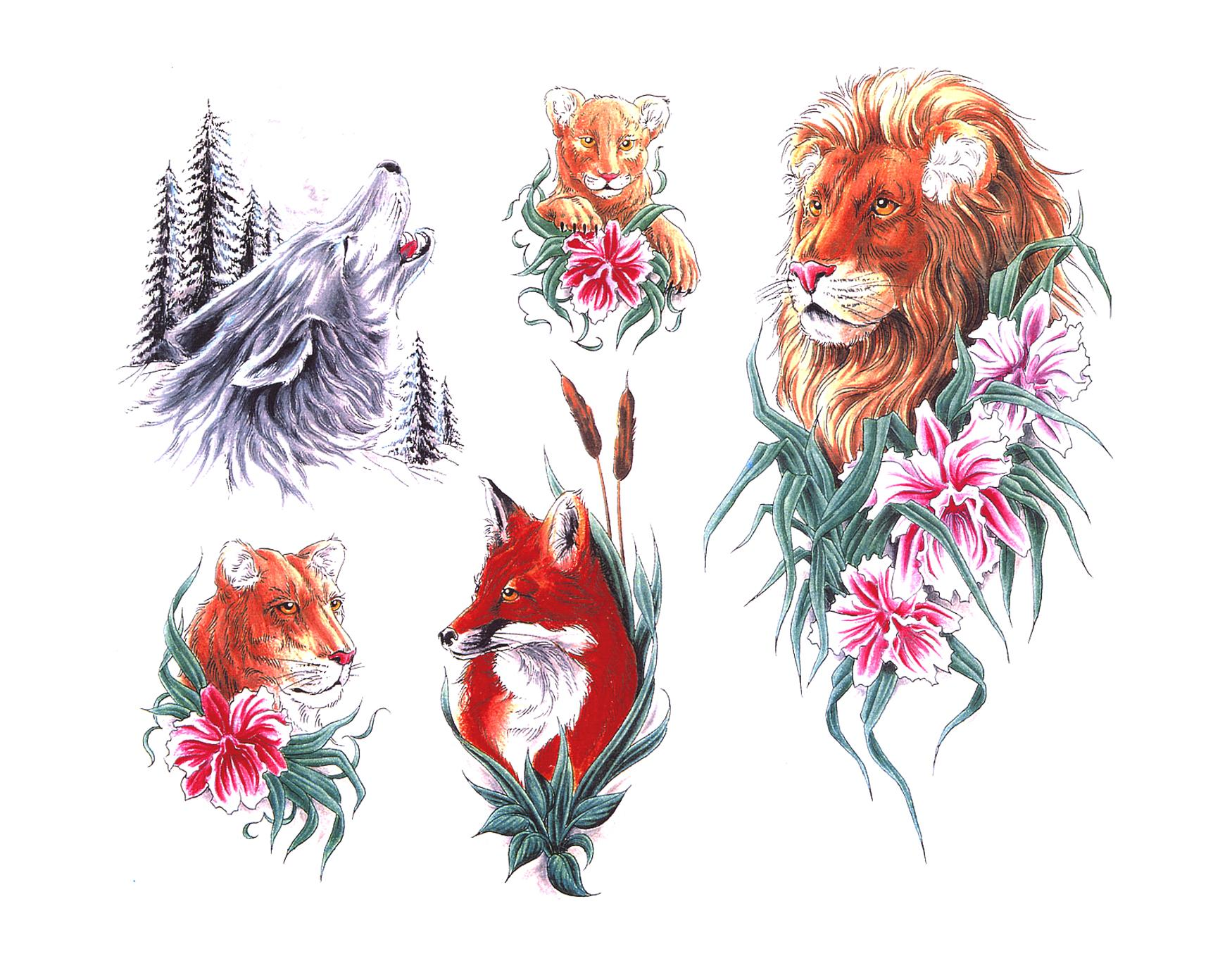 Animal Lion Wolf Tattoo Designs