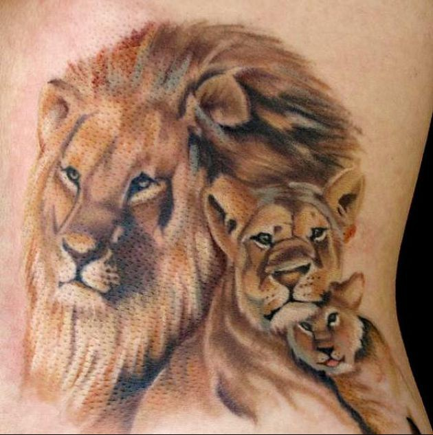 Awesome Lion And Cubs Tattoo Design