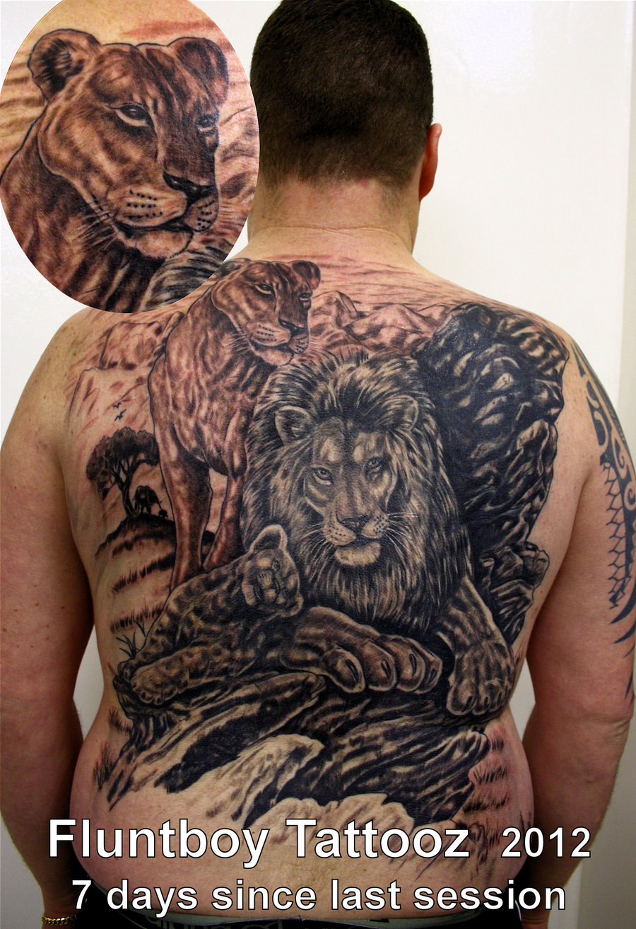 Awesome Lion Tattoo On Back Body