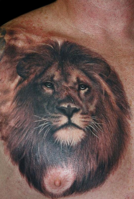 Awesome Lion Tattoo On Chest For Men