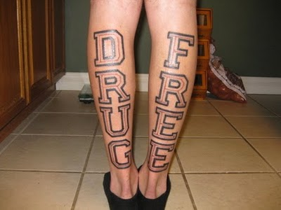 Back Leg Drug Free Tattoo Designs