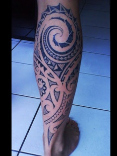 Back Leg Polynesian Leg Tattoo Design