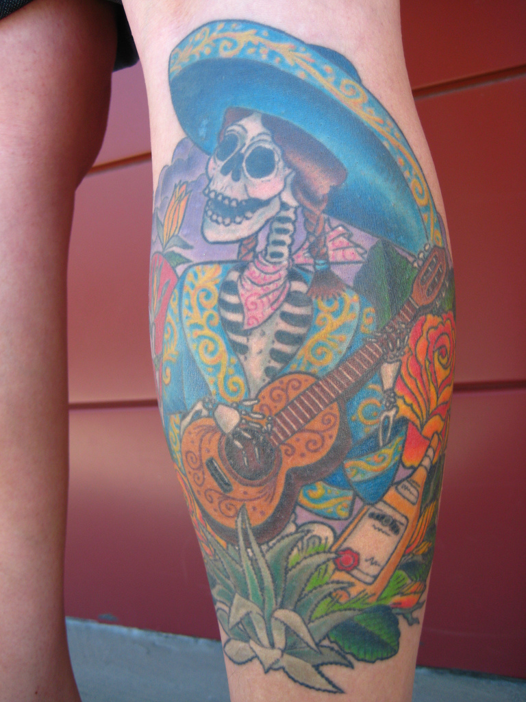 Band Skeleton Playing Guitar Tattoo On Leg