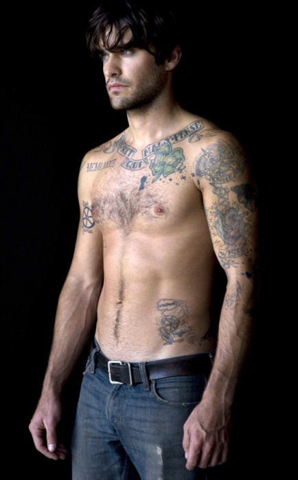 Banner And Clover Leaf Tattoo On Chest For Men
