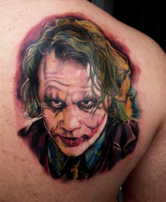 Batman Joker Tattoo On Back Shoulder