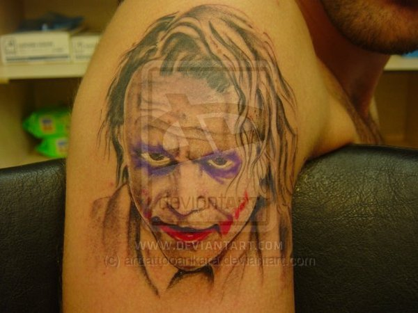 BBatman Joker Tattoo On Shoulder