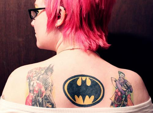 Batman Robin Joker And Harley Quinn Tattoo On Back Body