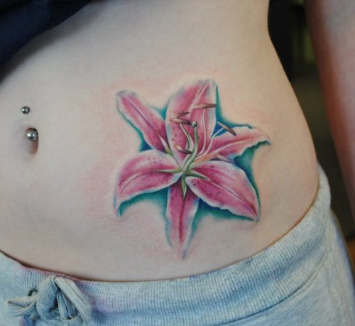 Belly Button Piercing n Pink Lily Tattoo Design