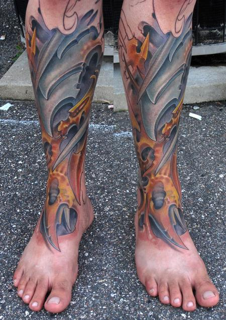 Bio Organic Full Leg Sleeve Tattoo Designs