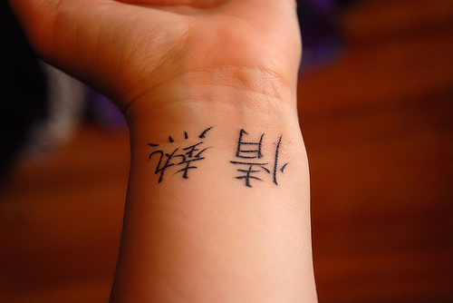 Black Ink Japanese Kanji Tattoo On Wrist