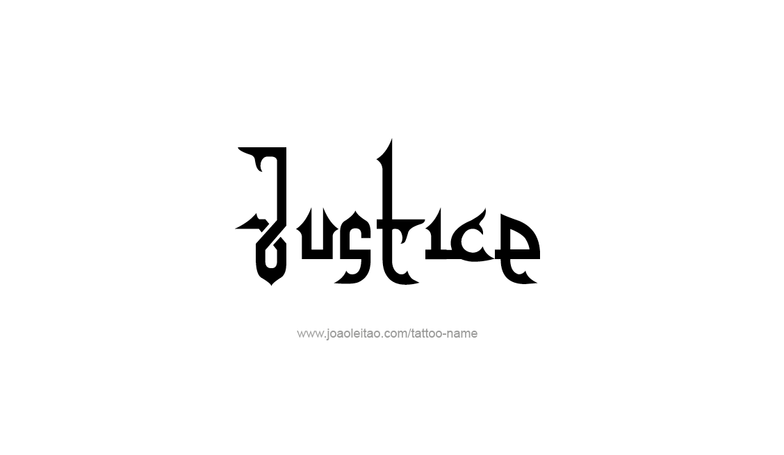 Black Ink Justice Lettering Tattoo Design