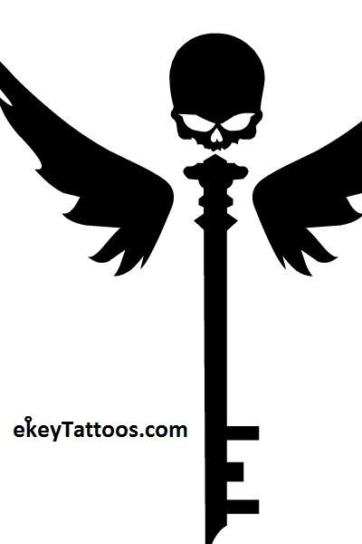 Black Ink Skeleton Key Tattoo Design
