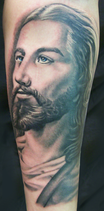 Black n Grey Ink Jesus Portrait Tattoo Design