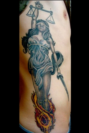 Blind Justice Lady Tattoo On Rib Side