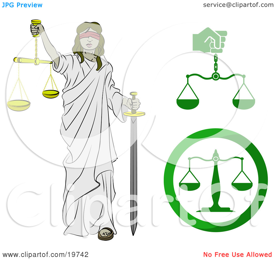 Blind Lady Justice Carrying A Sword And Scales Tattoo Design