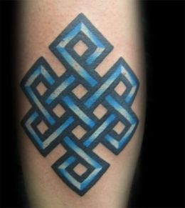 Blue Ink Endless Knot Tattoo Design