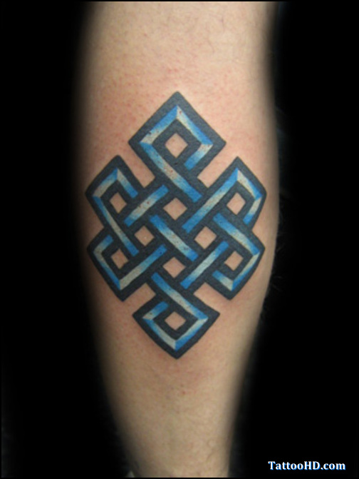 Blue Ink Endless Knot Tattoo