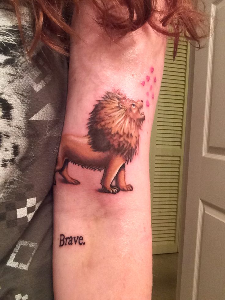 Brave Little Lion Tattoo On Arm
