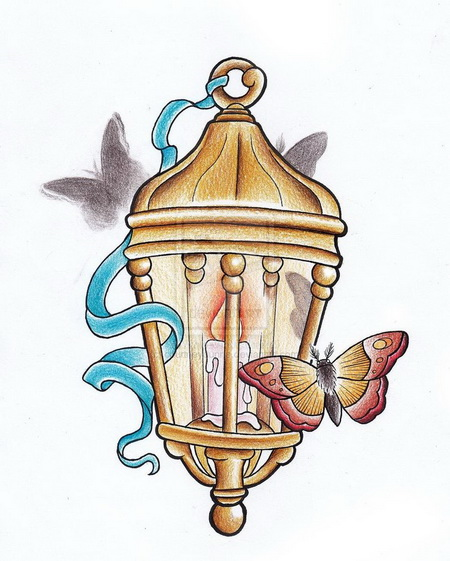 Burning Candle Lamp n Butterfly Tattoo Design