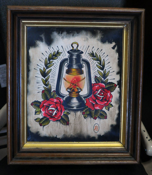 Burning Candle Lamp n Red Roses Tattoo Design