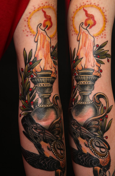 Burning Candle On Lamp Tattoo Design