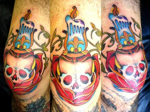 Burning Candle On Skull Rose Tattoo On Knee