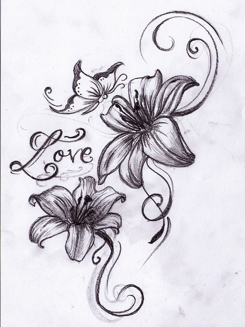 Gallery For gt Lilies Tattoo Sketch