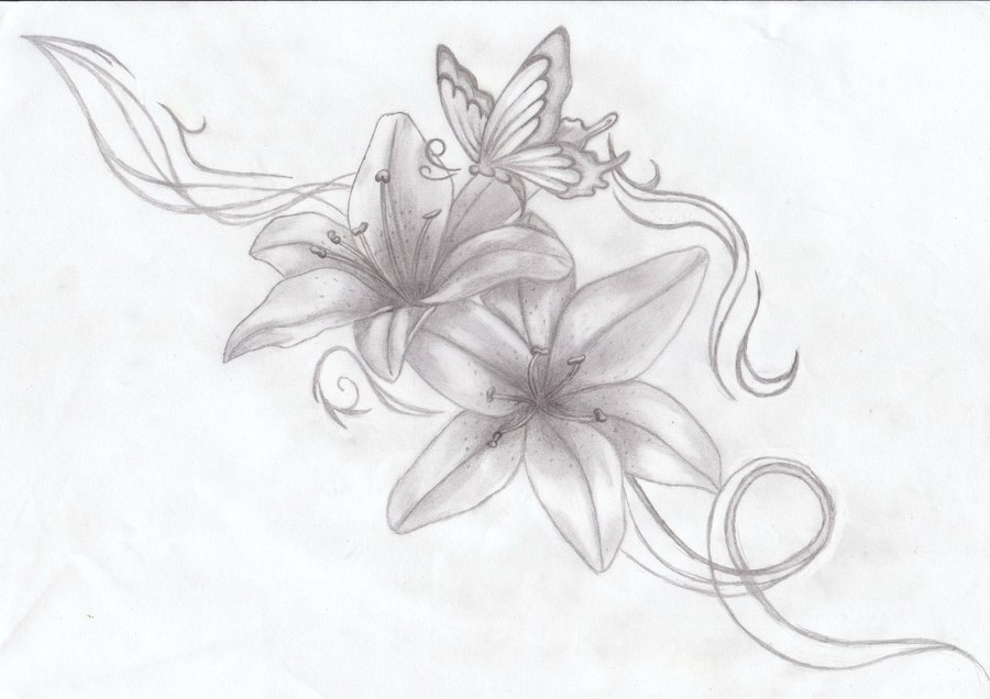 Butterfly n Lily Flowers Tattoo Sketch
